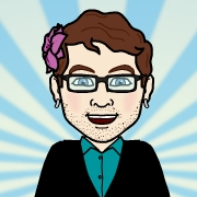 Cartoon image of Harper with a flower in his hair