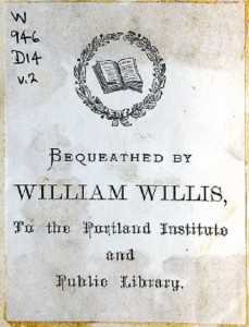 Image of the bookplate found in William Willis' personal books.