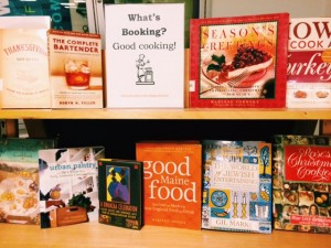 Holiday cookbooks on display at the Main Library.