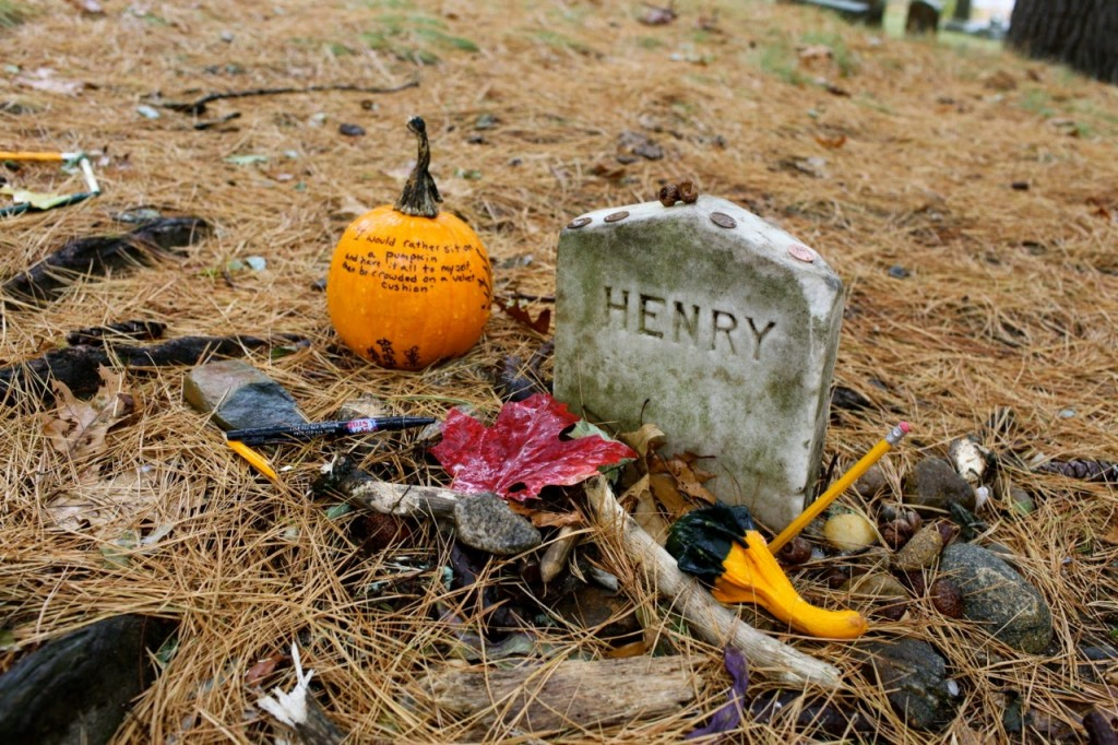 "Henry David Thoreau's grave at Sleepy Hollow Cemetery. ""I would rather sit by myself on a pumpkin than be crowded on a velvet cushion."""
