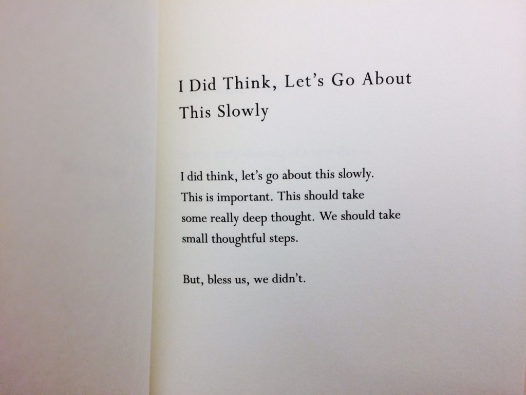 """I Did Think, Let's Go About This Slowly,"" from Mary Oliver's Felicity."