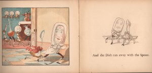 Caldecott captures the whimsy of the dish running away with the spoon