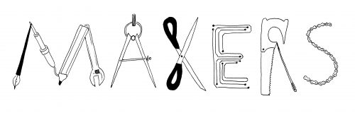 Makers logo, each letter designed out of different toos
