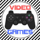 "Image of a PlayStation controller with the text ""VIDEO GAMES"" in red and blue"