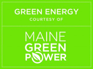 Green energy courtesy of Maine Green Power written in white text on a green background