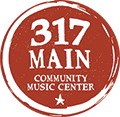 317 Main Community Music Center logo: text inside a red circle.