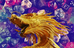 the head of an eastern style dragon with mouth open atop a background of pink and purple tinted dice