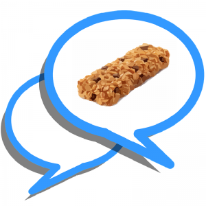 two overlapping blue text bubbles, one containing an image of a granola bar