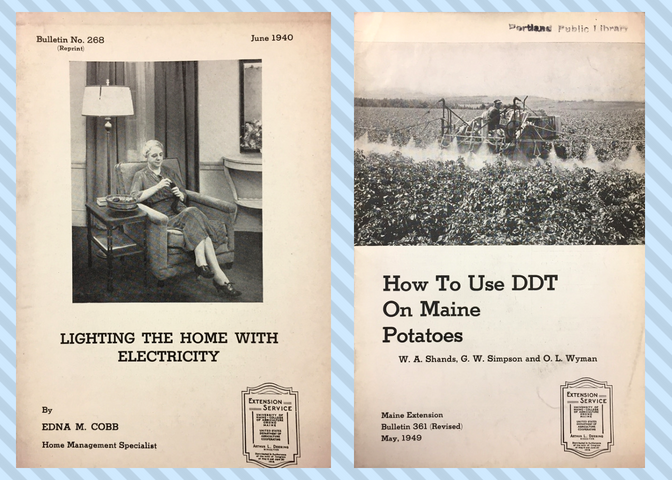 One bulletin cover depicts a woman demonstrating use of electric lamp; a second bulletin cover depicts a farmer spreading DDT on potato crops