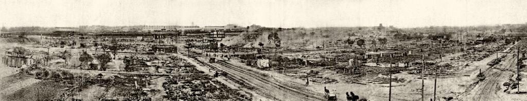 panarama of the ruined area of the Tulsa Race Massacre