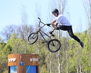 Boys' Qualification of mixed BMX freestyle park at the 2018 Summer Youth Olympics in Buenos Aires on 10 October 2018. Depicted: Evan Brandes.