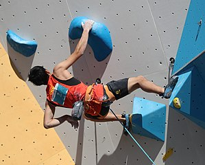 Lead climbing competition in the final of the boys' sport climbing at the 2018 Summer Youth Olympics in Buenos Aires on 10 October 2018.